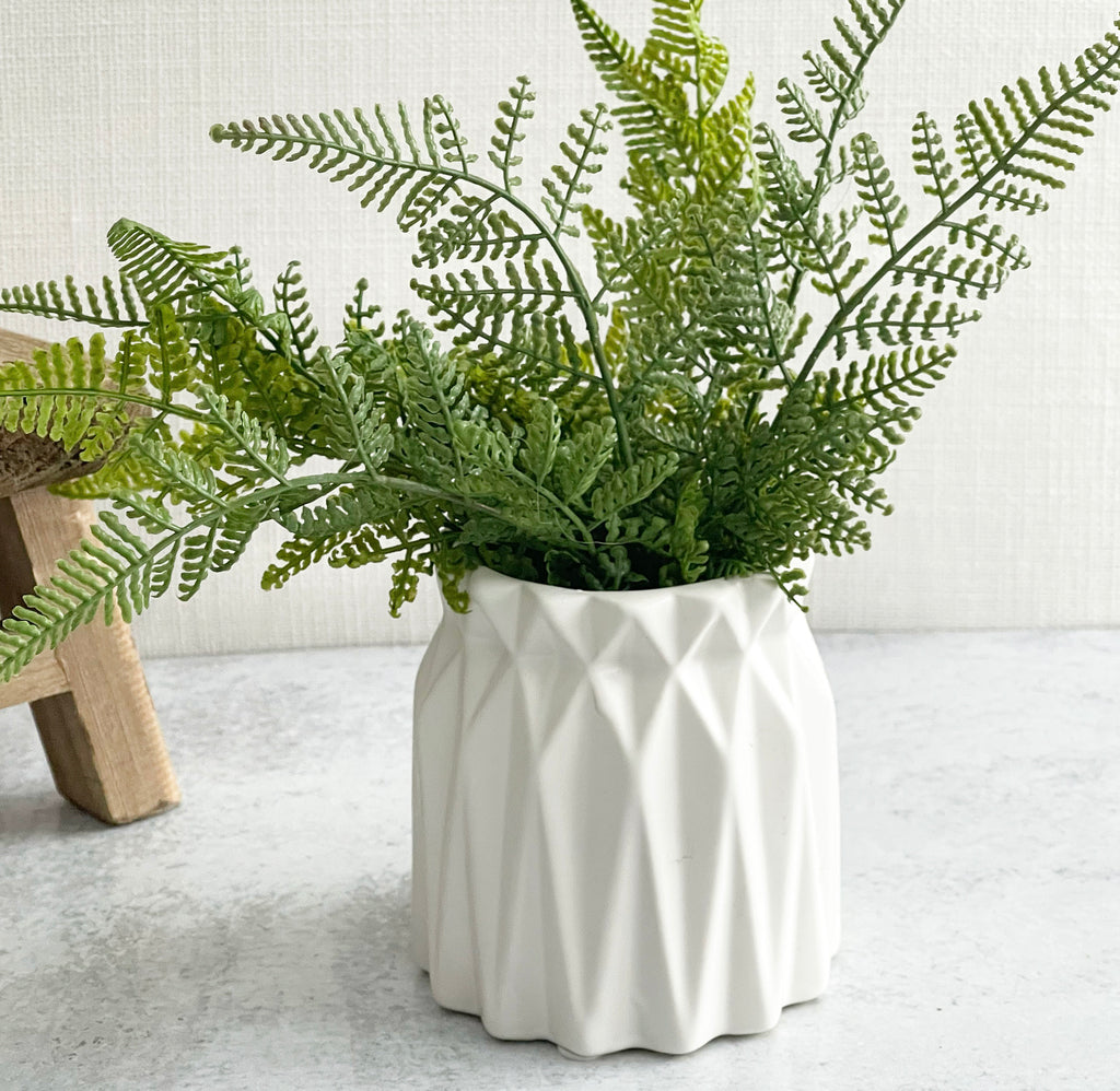 Wide White Geometric Vase