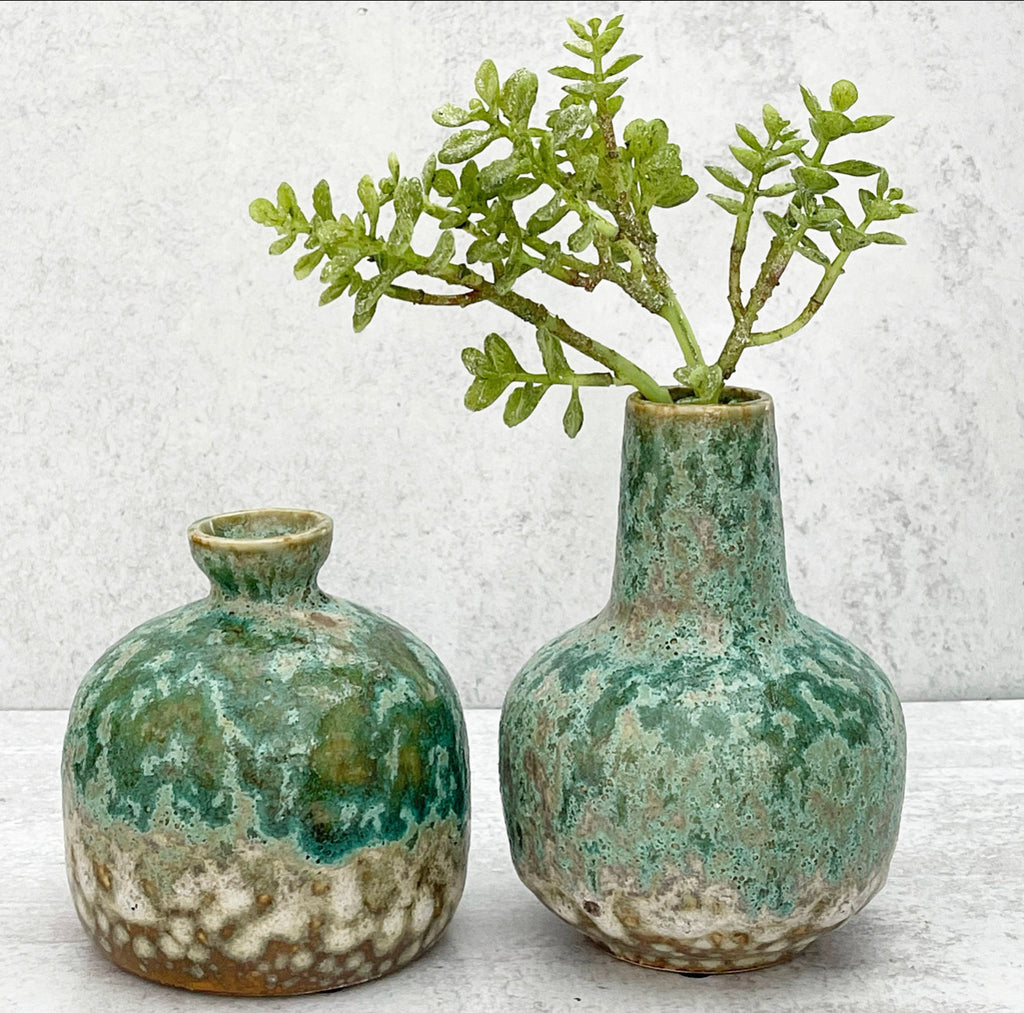 Green Glazed Stoneware Vases - 2 Sizes
