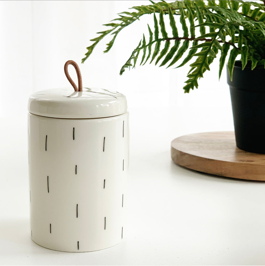 Modern Black & White Jars w/ Leather