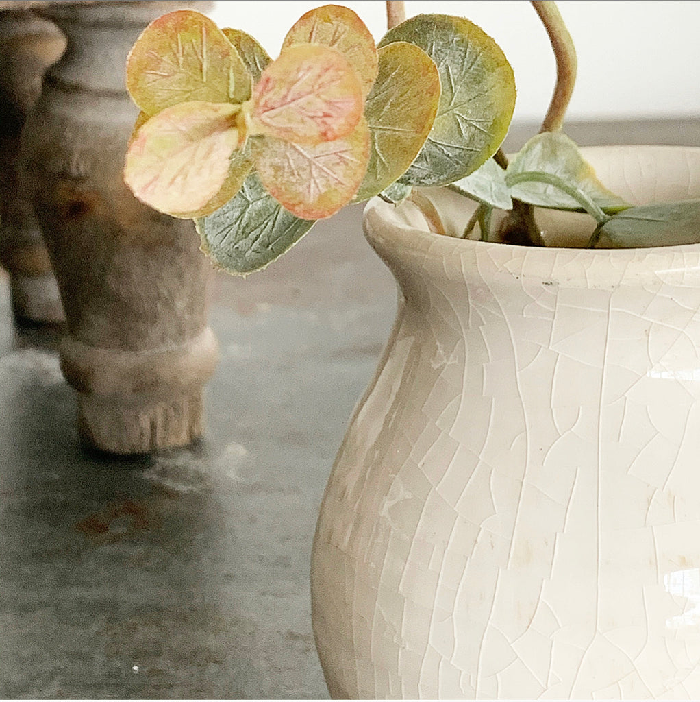 Cream Crackled Vase - Small