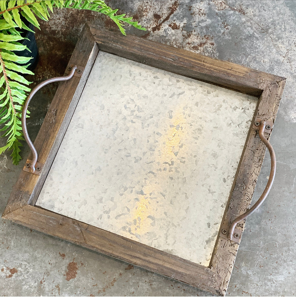 Square Wood & Metal Trays - 3 Sizes