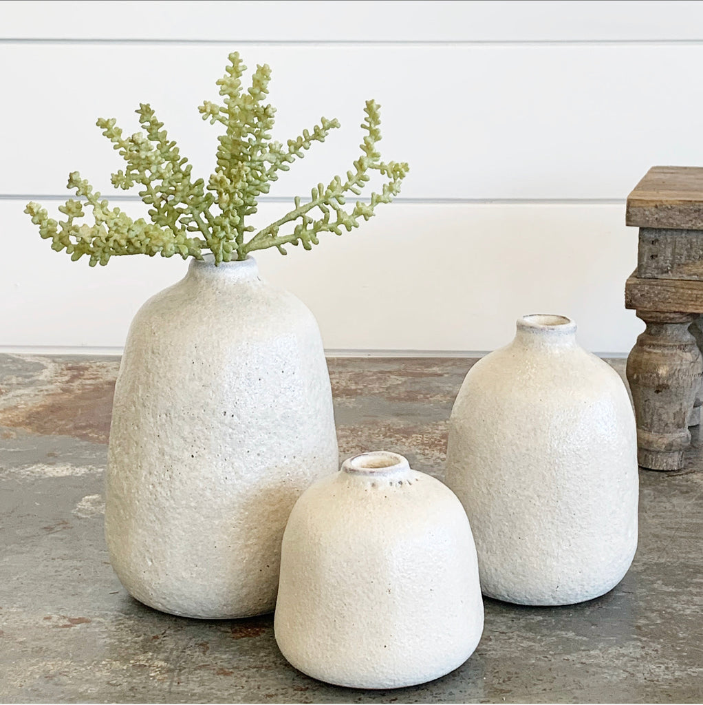 Off White Modern Vases - 3 Sizes