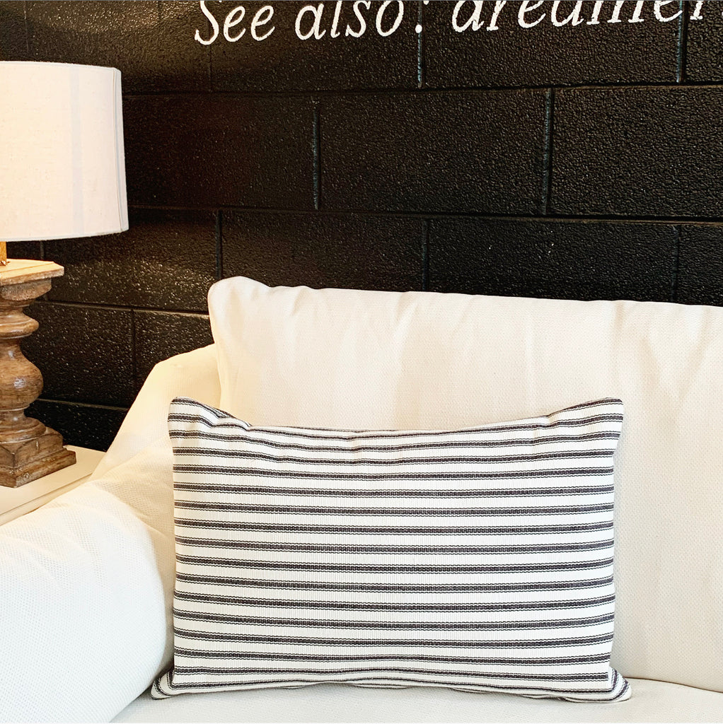 Black & White Ticking Stripe Pillow