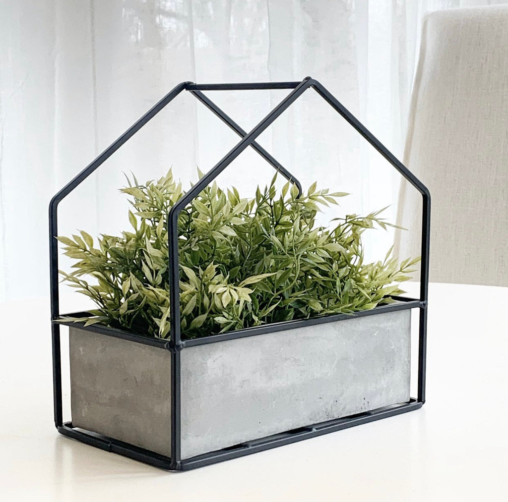 Cement House Planter w/ Black Metal Frame