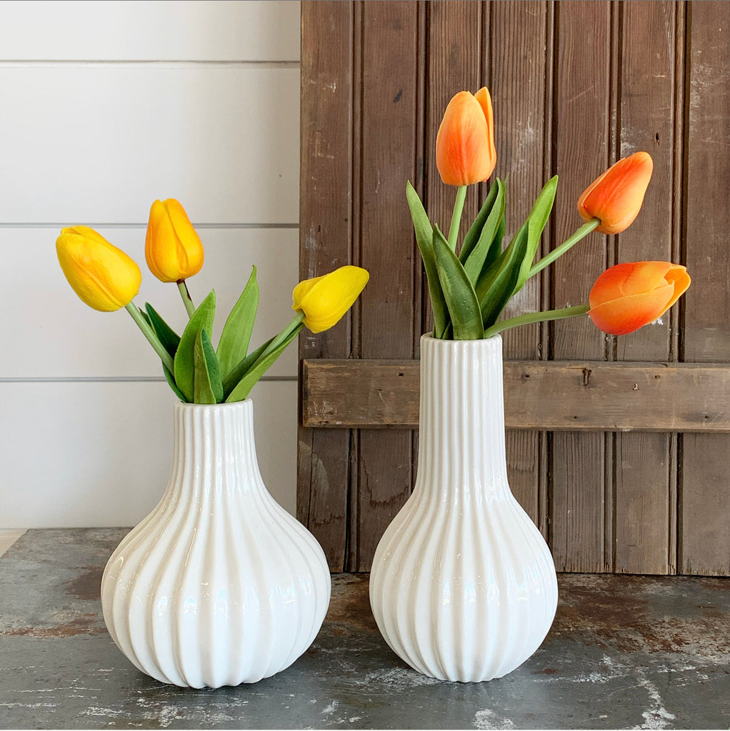 Modern Ribbed Cream Vase