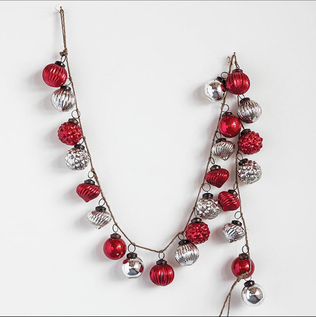 Mercury Glass Garland - Red & Silver