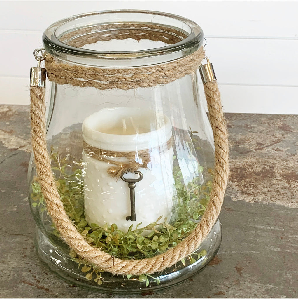 Large Glass Jar w/Rope Handle