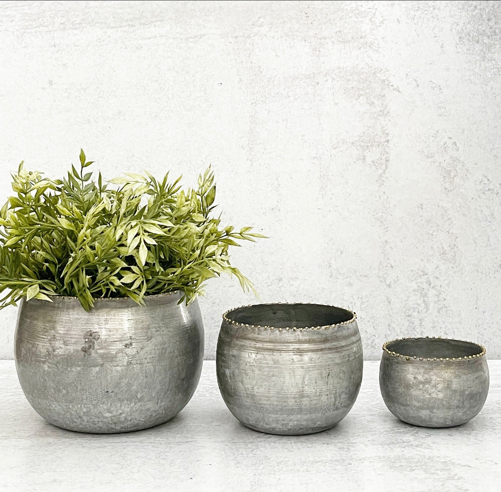 Brass Bead Round Metal Planters - 3 Sizes