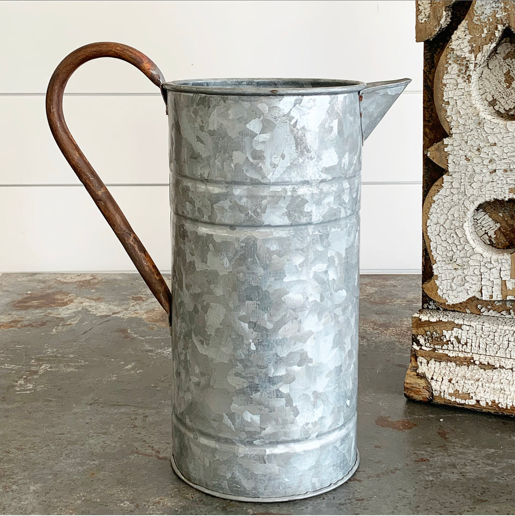 Galvanized Pitcher/Copper Handle