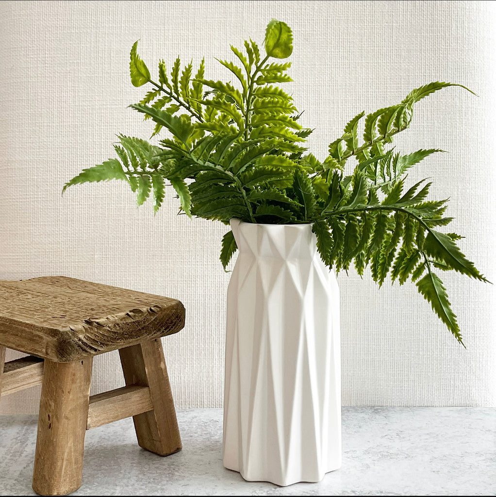 Tall White Geometric Vase - Small