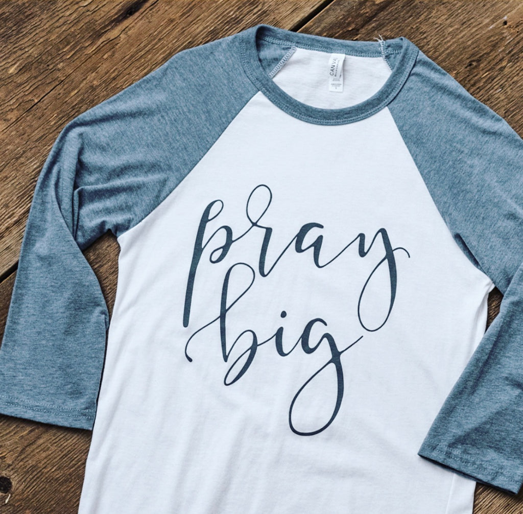 Pray Big Blue & White Baseball Shirt