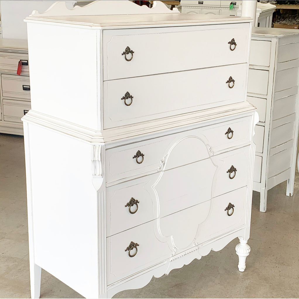 Antique Ornate Tall White Chest