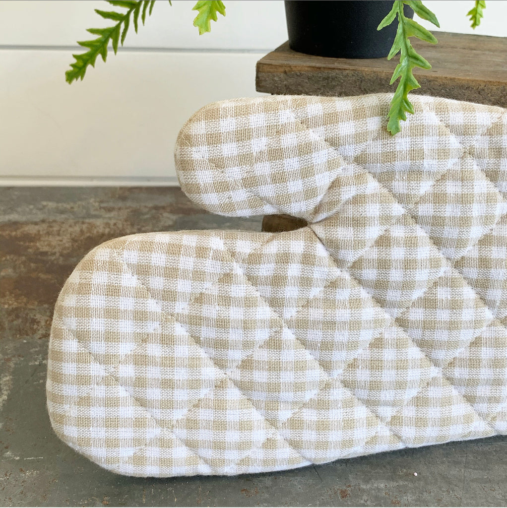 Tan Gingham Oven Mitt