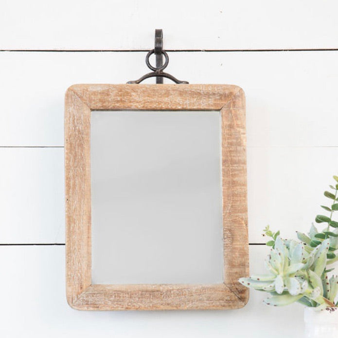 Rustic Wood Mirror w/ Metal Hook