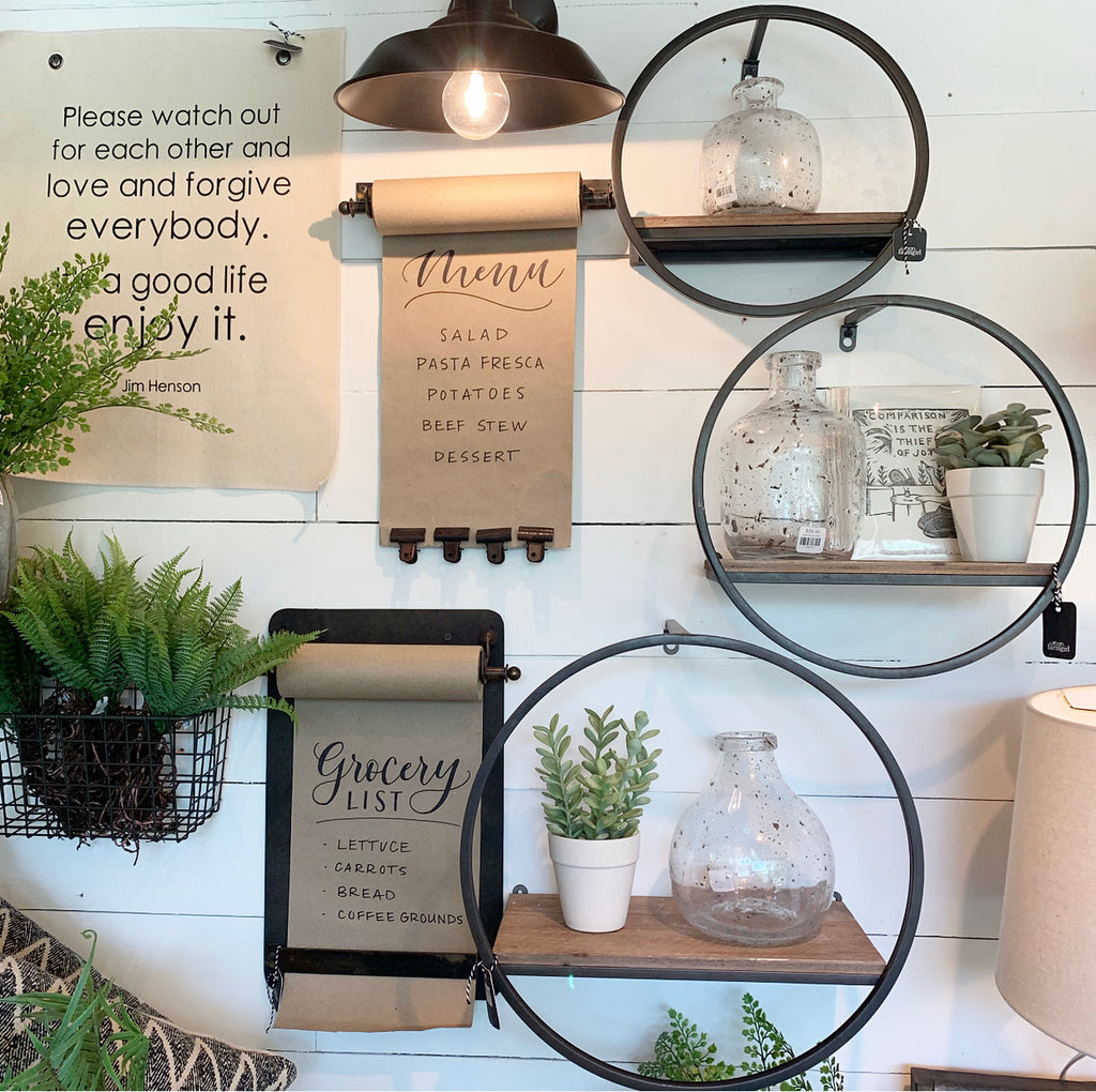 Modern Round Metal with Wood Shelf