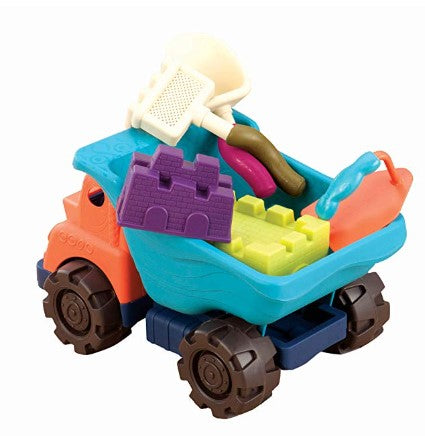 """sand toys"", ""construction toys"", ""toy truck"", ""gross motor skills"""