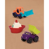 toy vehicles, trucks, boat, dump truck, gross motor skills