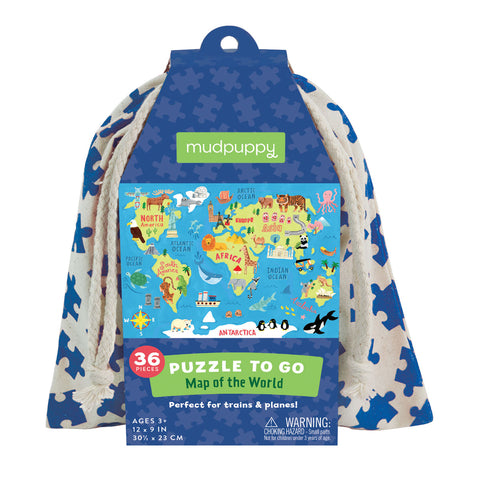 Mud Puppy 36 pce To Go World Map Puzzle
