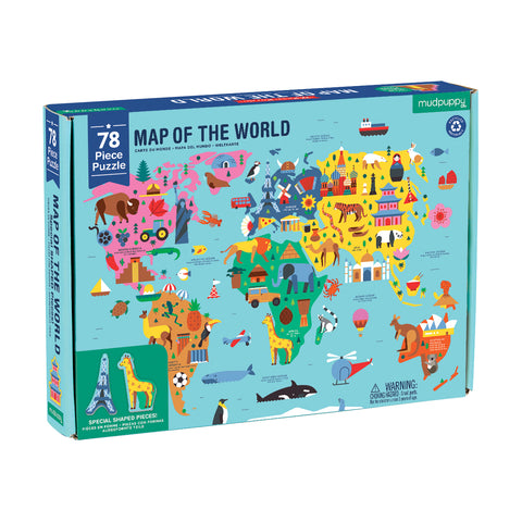 Mud Puppy 78 pce World Map Puzzle