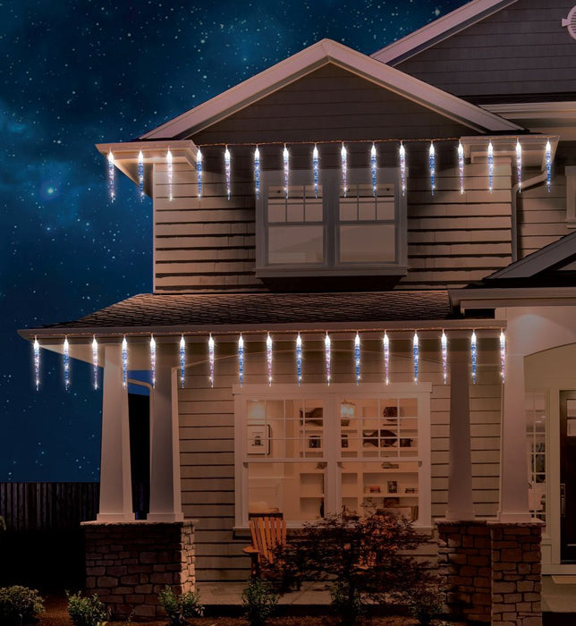 LED Icicle Lights 60 Chaser White-Blue