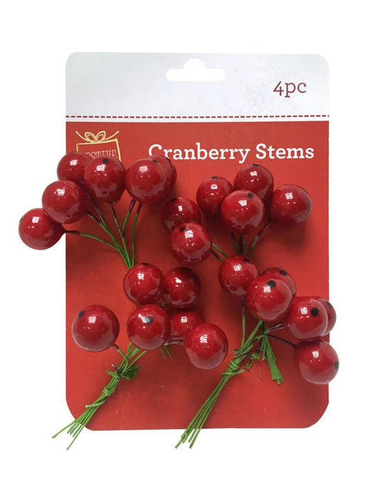 Red Cranberry Picks - 4pc
