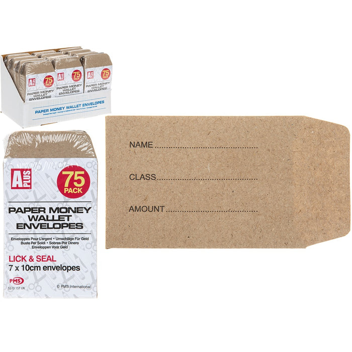 Paper Money Wallet Envelopes - 75pc