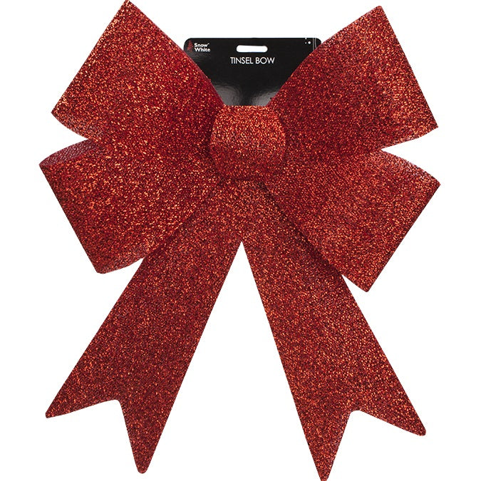XL Christmas Bow - Red Glitter