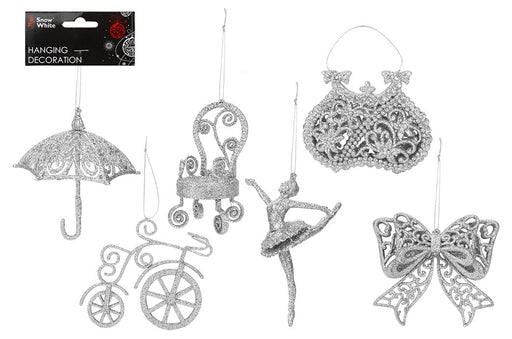 Silver Hanging Decorations - 6 Assorted Designs