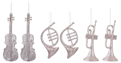 2 Pack Rose Gold Hanging Musical Decoration - 3 Assorted Designs