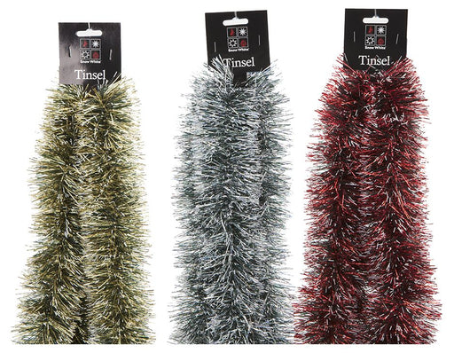 2m Snow Tipped Tinsel - 3 Assorted Colours