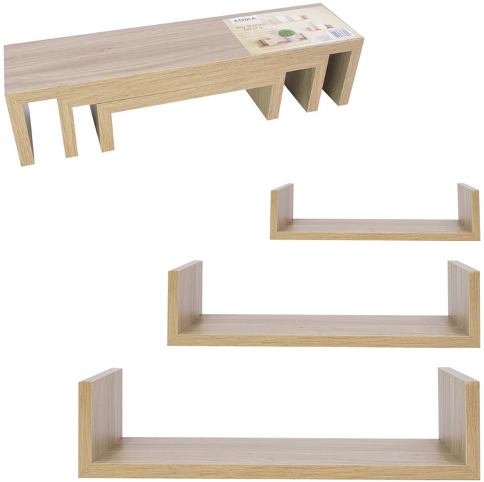 Wooden Tray Of Shelves - 3pc Set