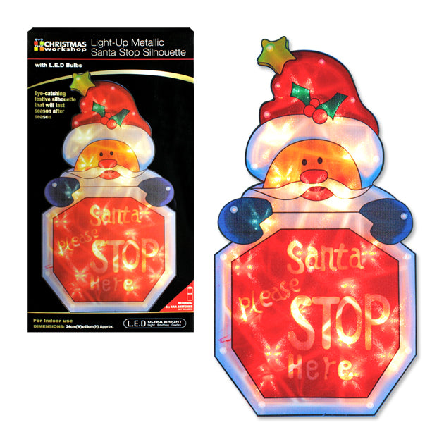 LED Santa Stop Sign Silhouette - 26 x 45cm