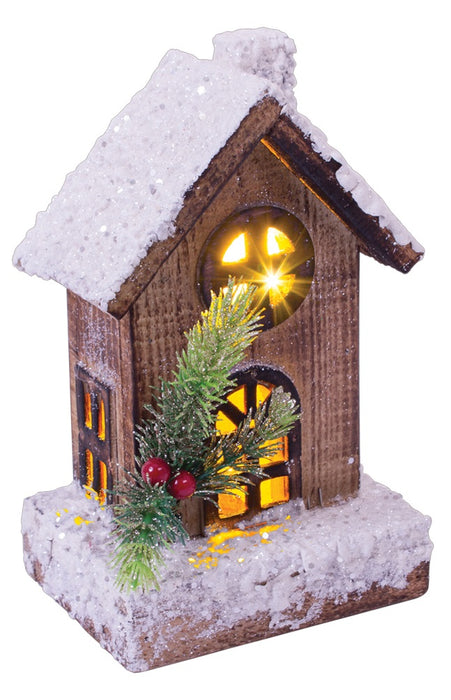 LED Wooden House - 8""