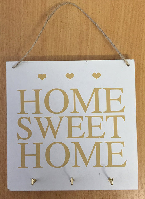 Wooden 'Home Sweet Home' Key Holder Plaque