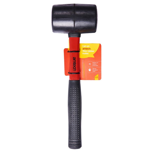 16oz Black Rubber Mallet - Fibreglass Shaft