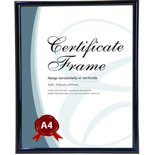 Black Glass Certificate Frame - A4