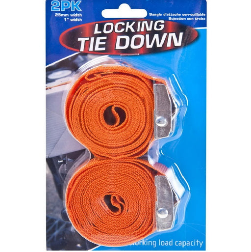Ratchet Jaw Lock Strap Tie Downs - 2pc