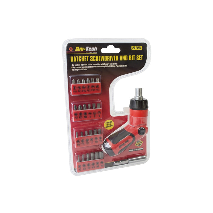 Swivel Ratchet Screwdriver & Bit Set  - 26 Bits