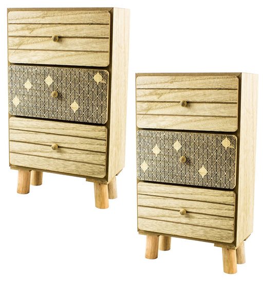 "14"" Wooden Drawer Desk Units - Set of 2"