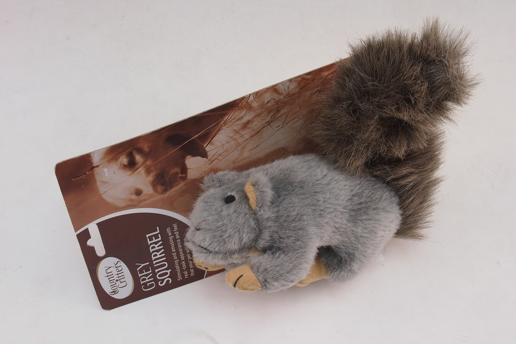 Grey Squirrel Pet Toy - 10""