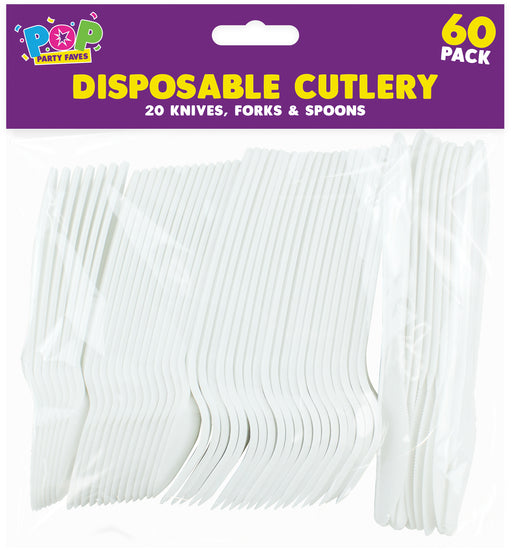 Disposable Plastic Cutlery - 60 Pack