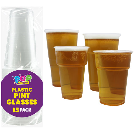 Plastic Pint Glasses - 15pc