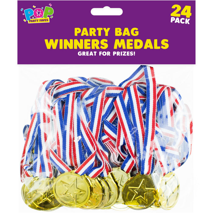 Gold Plastic Medals - 24pc Set