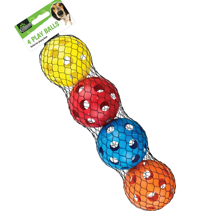 7cm Plastic Pet Ball Toys - 4pc