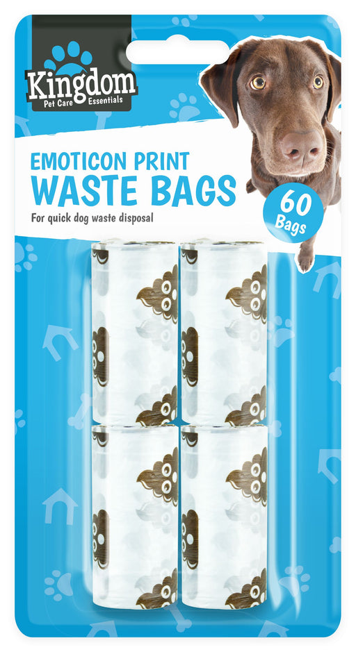 Emoticon Dog Waste Bags - 60 x Bags