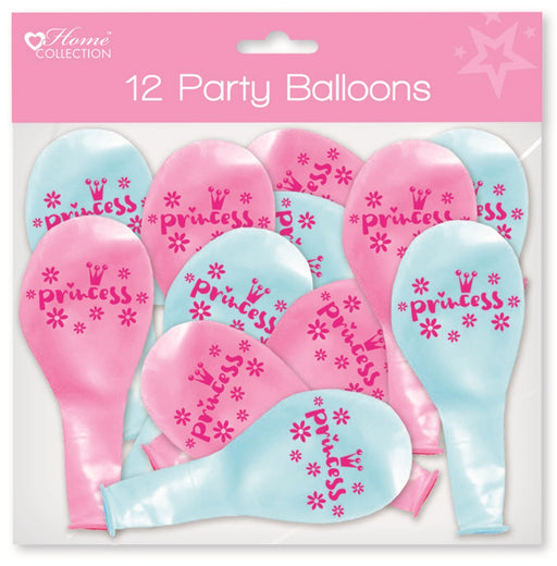 Princess Printed Party Balloons - 12pc