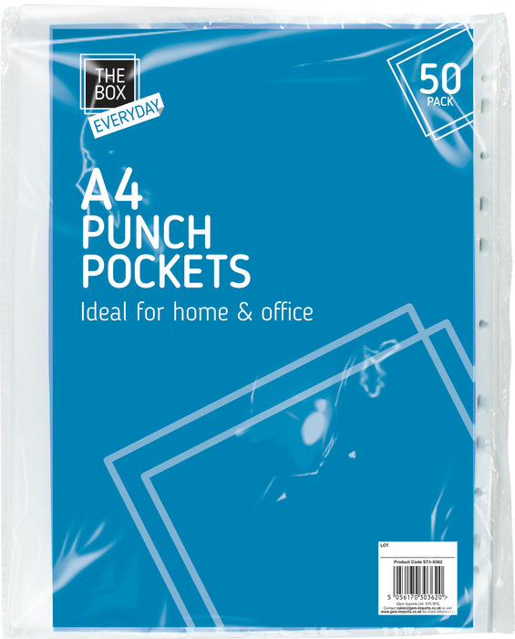 Clear Plastic Punch Pockets 50 x Pockets