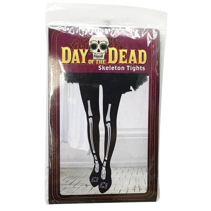 Day Of The Dead Skeleton Tights Pair - Adult