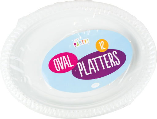 DISC White Plastic Oval Platters - 12 Pack
