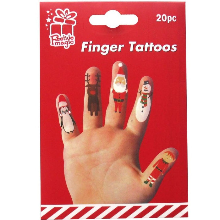 Christmas Finger Puppet Tattoos - 20pc